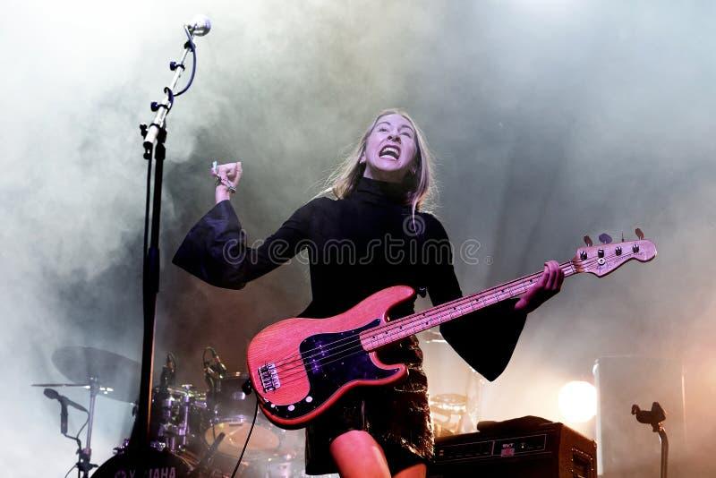 Haim indie music band perform in concert at Primavera Sound 2017 stock photos