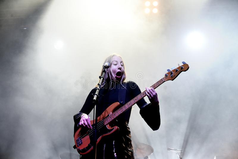 Haim indie music band perform in concert at Primavera Sound 2017 royalty free stock images