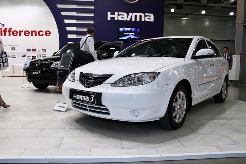 Haima 3. MOSCOW - AUGUST 25: Haima 3 at the international exhibition of the auto and components industry, Interauto on August 25, 2011 in Moscow stock photo