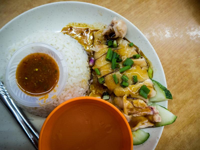 Hainan Chicken Rice in Penang, Malaysia royalty free stock images