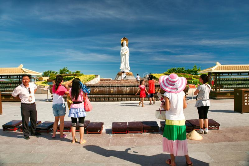 Hainan, China - July 05, 2018: The largest and most popular statue of the goddess Guanyin in Nanshan Park. royalty free stock images