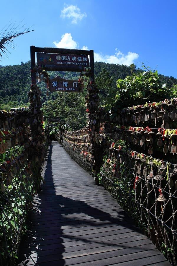 Hainan de la Chine oh, secteur de touristes de la forêt tropicale photo stock