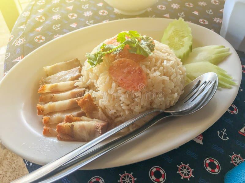 Hainanese在白色板材的鸡米 免版税库存图片