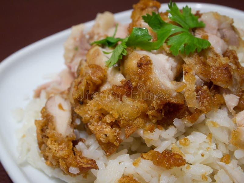 Hainanese炸鸡米 库存图片