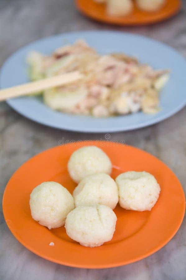 Hainanese鸡在jonker街道, Melaka的米饭团, 库存照片