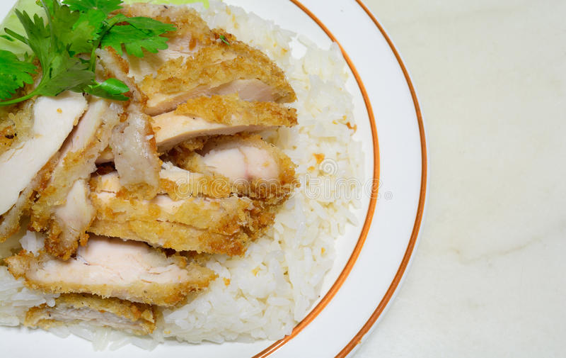 Hainanese鸡炒饭 库存照片