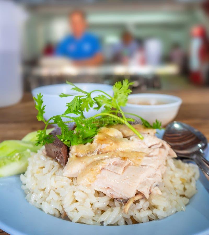 Hainanese-Hühnerreis, thailändischer Feinschmecker dämpfte Huhn mit Reis, lizenzfreie stockfotografie
