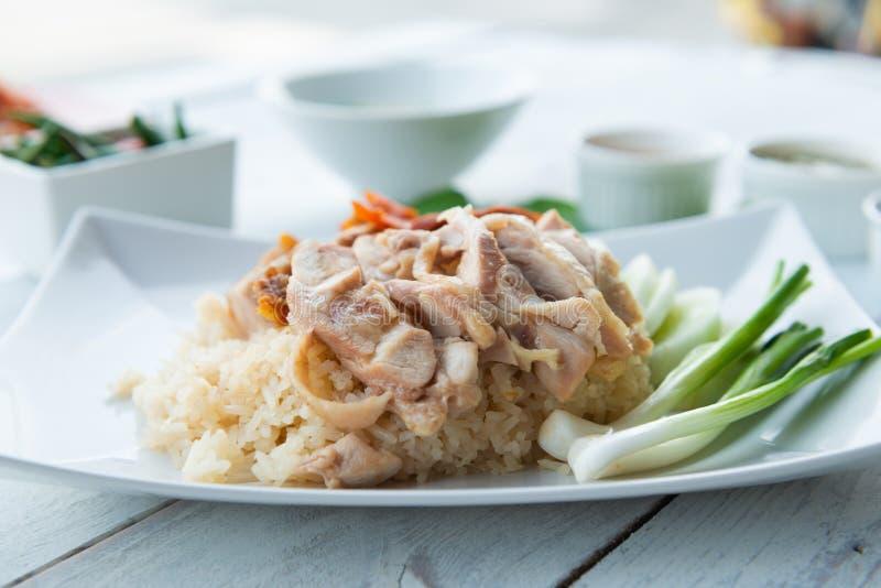 Hainanese kurczaka ryż, smakosz dekatyzowali kurczaka z ryż zdjęcie stock