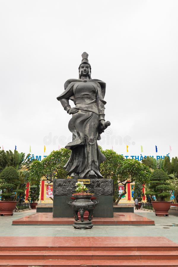 Haiphong, Vietnam - Apr 30, 2015: Statue of heroine Le Chan in center park. Le Chan was female general who led the armies of the T. Rung Sisters in their royalty free stock image