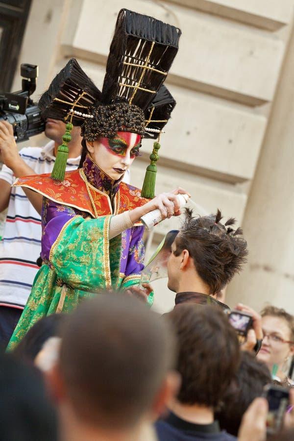 Hair artist performing in public..