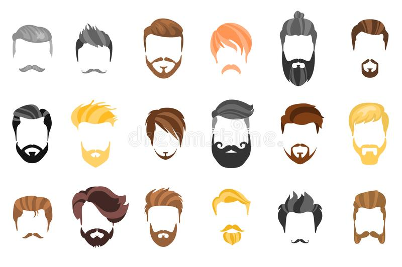 Hair, beard and face, hair, mask cutout cartoon flat collection. Vector men`s hairstyle, illustration, beard and hair vector illustration