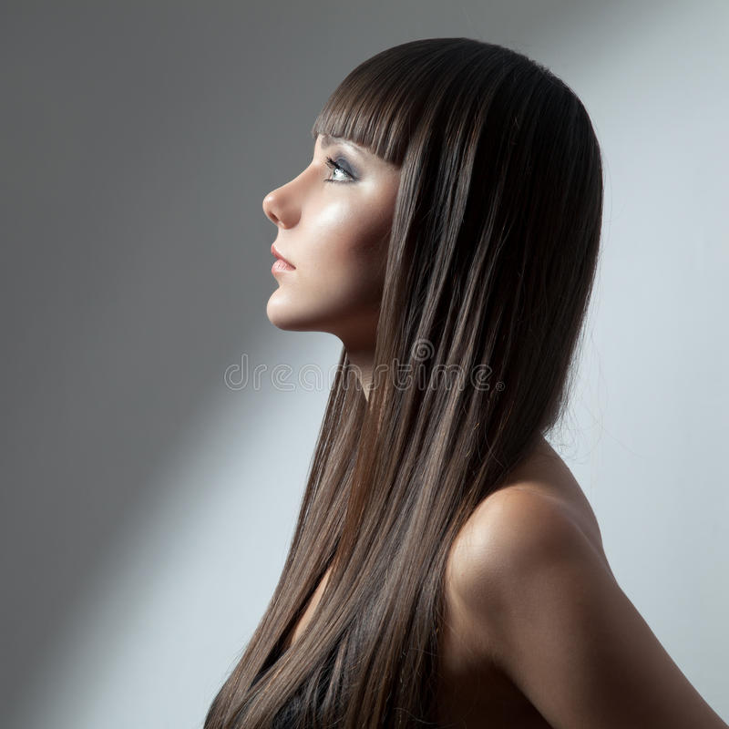 Hair. Beautiful Brunette Girl. Healthy Long Hair. royalty free stock photo