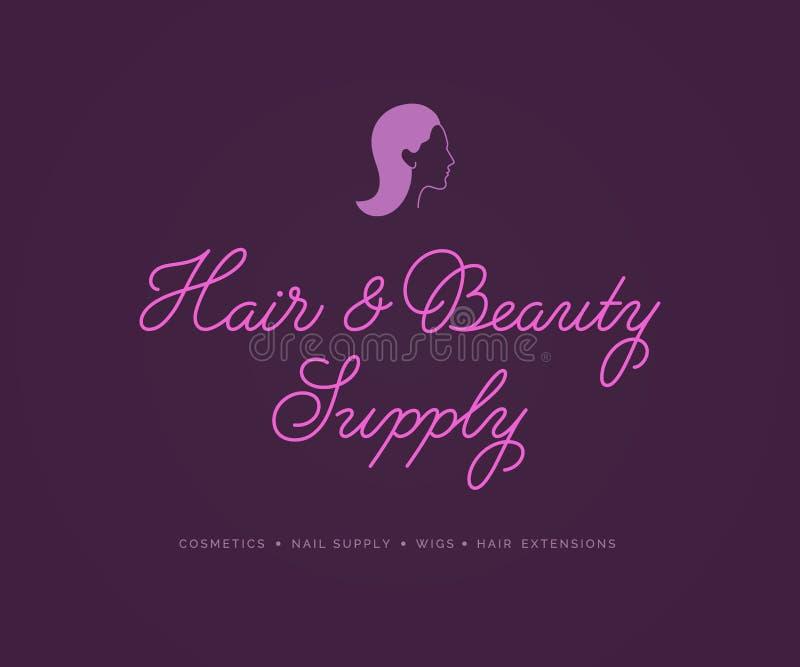 Hair Beauty Supply Logo Vector Lettering. stock illustration