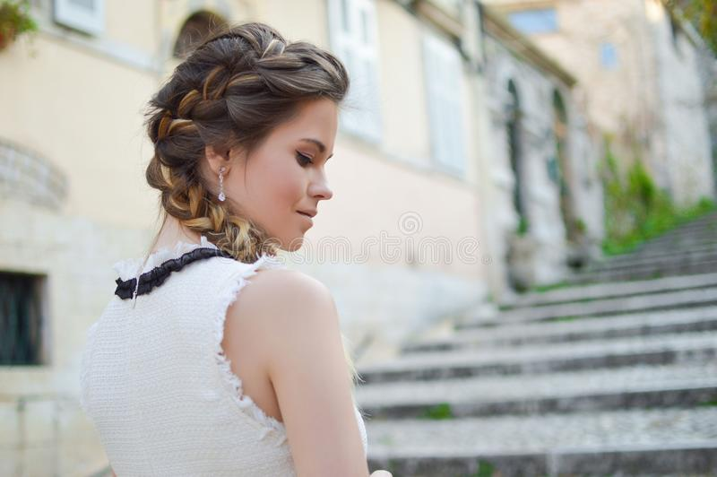 Hair, Bride, Gown, Hairstyle royalty free stock photography