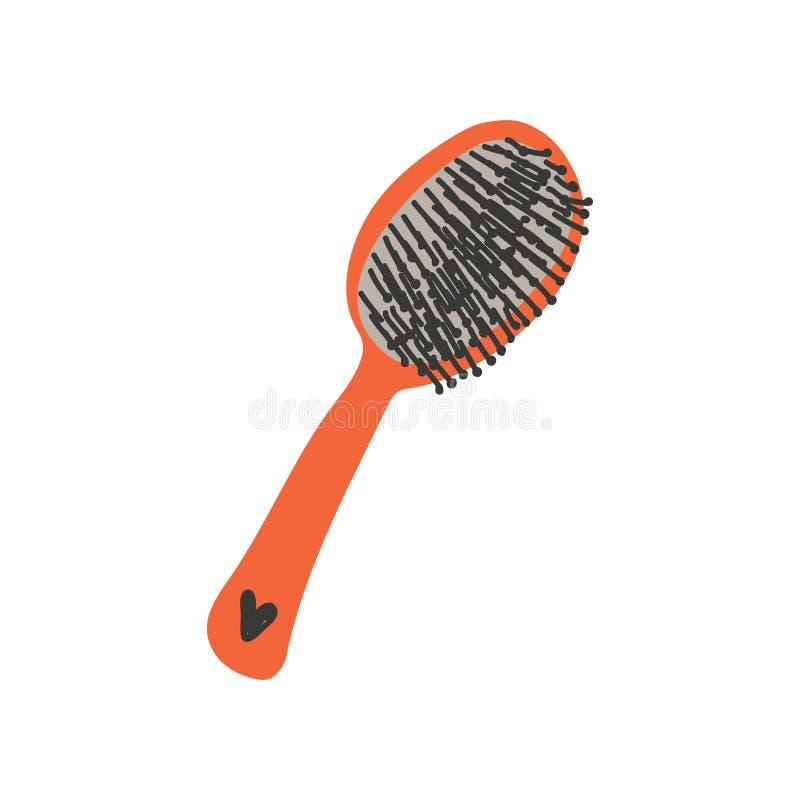 Hair Brush, Zero Waste Reusable Object, Eco lifestyle Concept Vector Illustration. On White Background royalty free illustration
