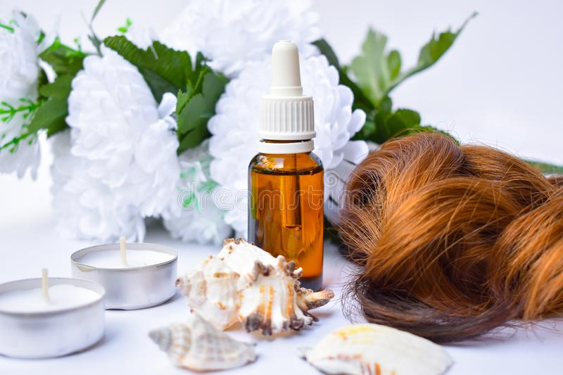Hair care with Argan Oil. royalty free stock images