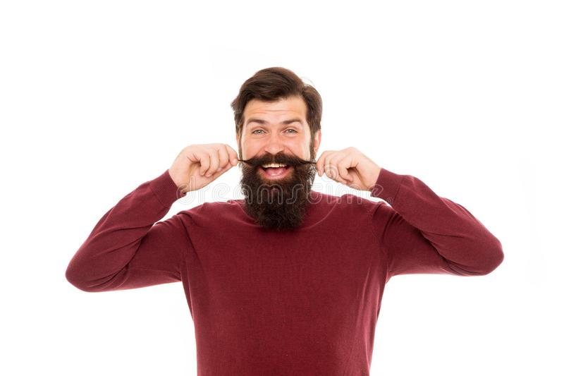 Hair care. Barbershop concept. Beard hairs grow at different rates. To grow awesome beard, simply put away your razor royalty free stock images