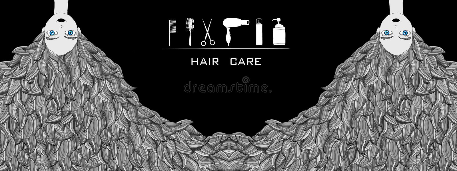 Hair care and hair salon illustration. Illustration of a girl with heavy hair that need haircut and take care of them