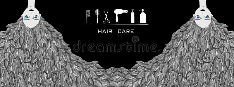 hair care and hair salon illustration stock illustration