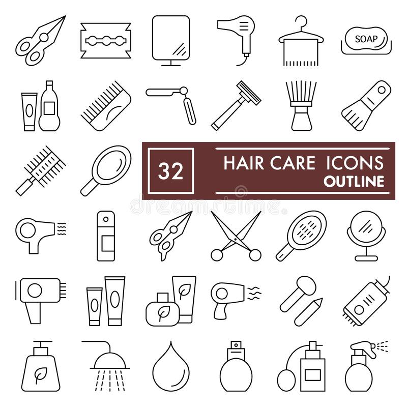 Hair care thin line icon set, beauty symbols collection, vector sketches, logo illustrations, cosmetics signs linear royalty free illustration
