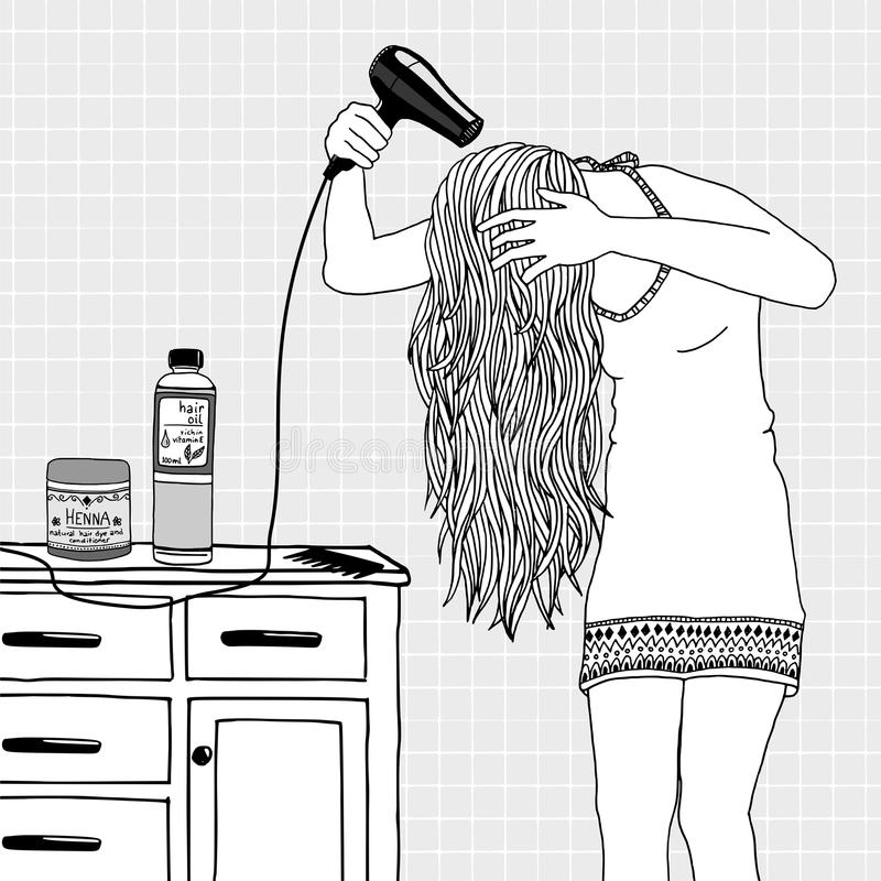 Hair Care. Young woman blow drying her hair stock illustration