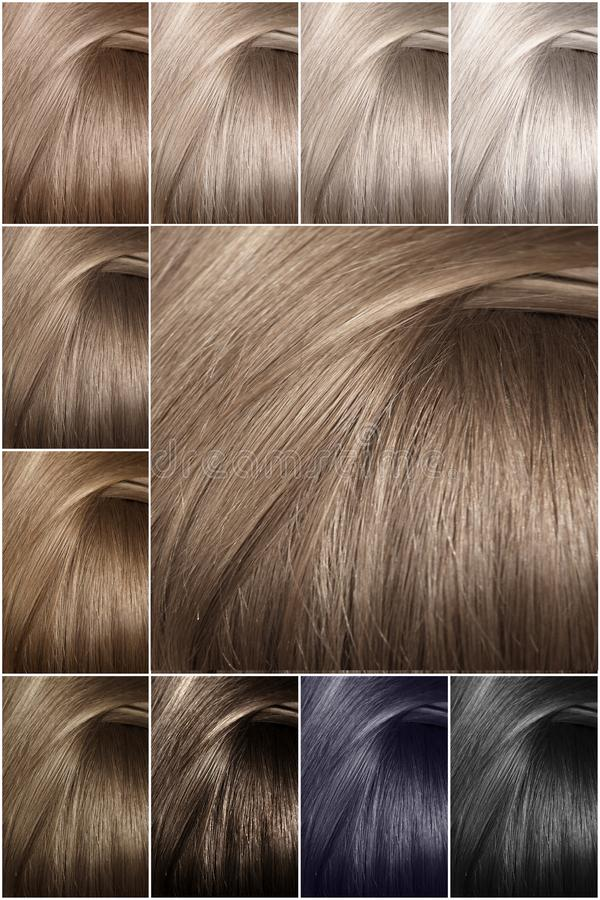 Hair color palette with a wide range of samples. Samples of colored hair colors. Shades of cold colors. stock photography