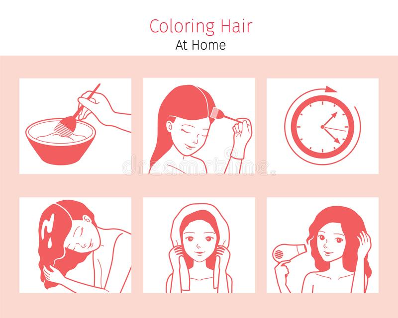 Hair Coloring Process. Steps Of Young Woman Coloring Her Own Hair From Brunette to Blonde At Home, Monochrome. Nourishing Beauty Fashion Hairstyle Scalp stock illustration