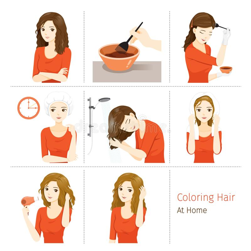 Hair Coloring Process. Steps Of Young Woman Coloring Her Own Hair From Brunette to Blonde At Home. Nourishing Beauty Fashion Hairstyle Scalp stock illustration
