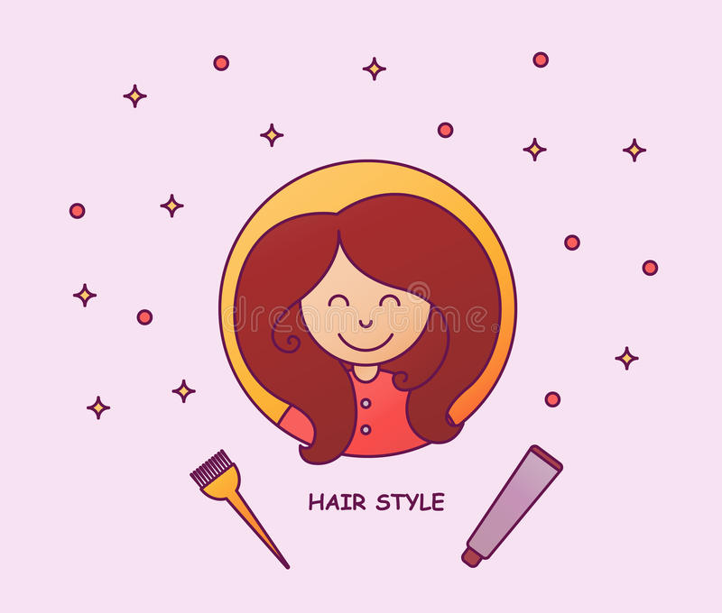 Hair coloring. A young girl with a volume hairstyle. Beauty salon, hairdresser. Ombre, tinting, dyeing hairs. Vector stock photography