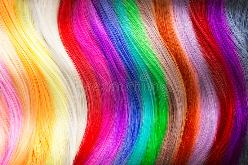 Hair colors palette. Dyed hair colors royalty free stock photo