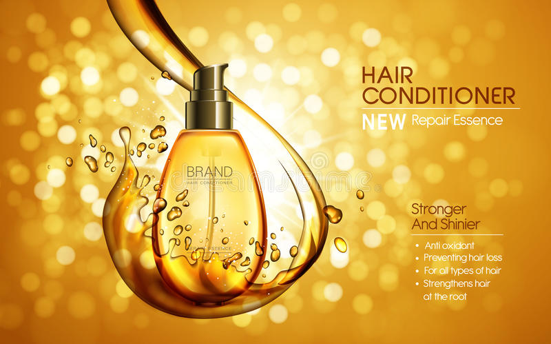 Hair conditioner ad. Hair conditioner contained in golden bottle, shining bokeh background, 3d illustration stock illustration