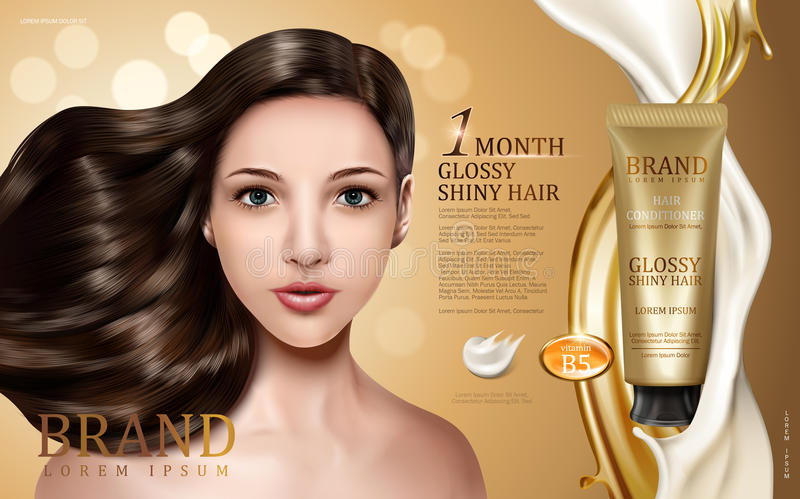 Hair conditioner ad. Hair conditioner contained in tube with model face, golden and creamy flows, bokeh background 3d illustration stock illustration