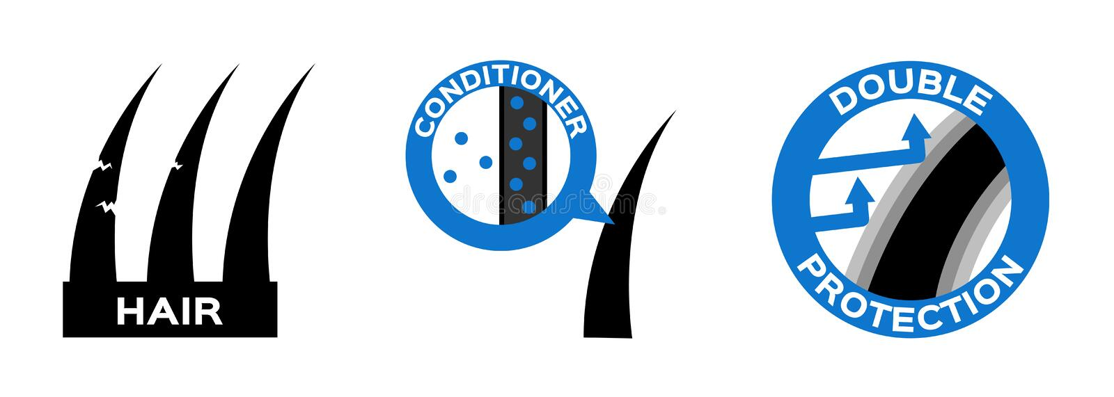 Hair conditioner protection logo, icon and . anatomy. On white background royalty free illustration