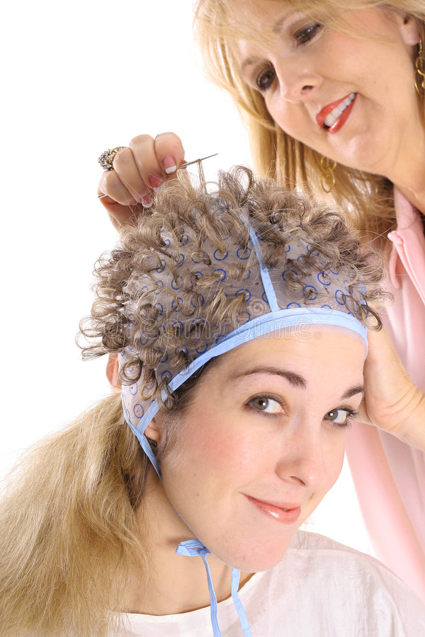 Free Hair Dresser Frosting Clients Hair Upclose Royalty Free Stock Photos - 3770768