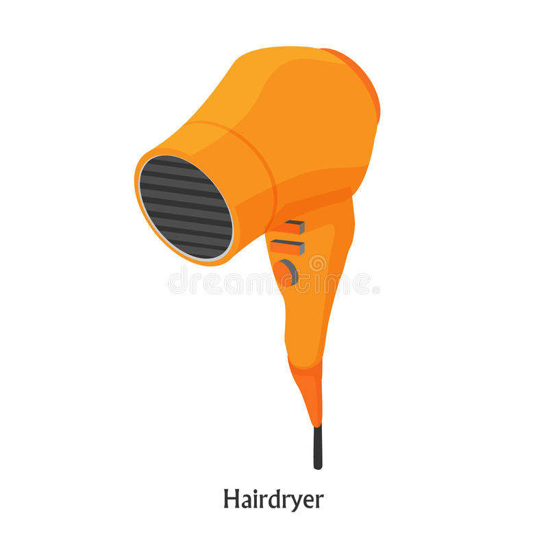 Hair dryers in a beauty salon. Vector isometric illustration royalty free stock images