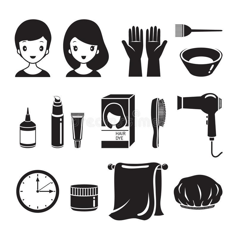 Hair Dyeing Equipment And Accessories Set, Monochrome. Nourishing Beauty Fashion Hairstyle Scalp vector illustration