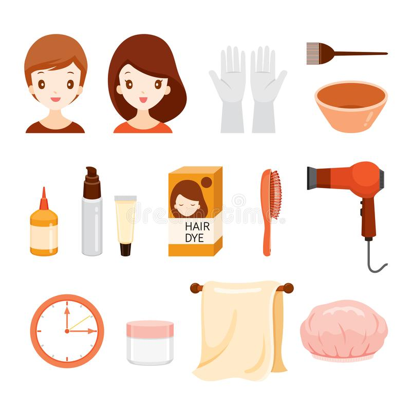 Hair Dyeing Equipment And Accessories Set. Nourishing Beauty Fashion Hairstyle Scalp vector illustration