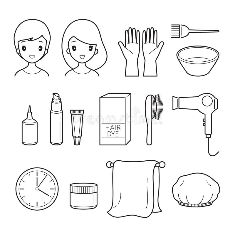 Hair Dyeing Equipment And Accessories Set, Outline. Nourishing Beauty Fashion Hairstyle Scalp stock illustration