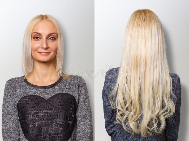 Hair extensions procedure. Hair before and after. Blond woman stock images
