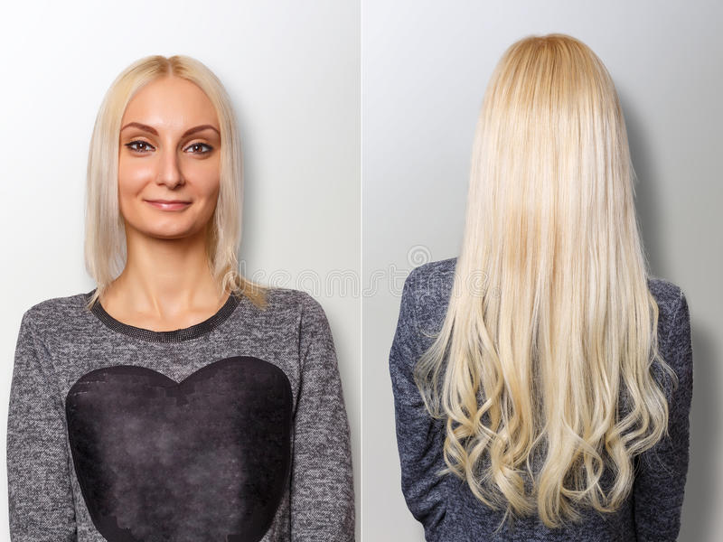 Hair extensions procedure. Hair before and after. Blond woman royalty free stock images