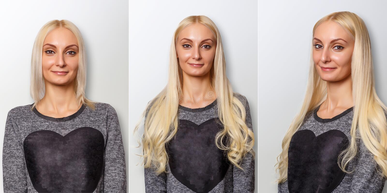 Hair extensions procedure. Hair before and after. Blond woman royalty free stock photo