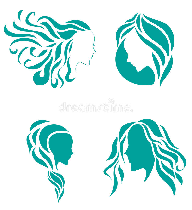 Hair fashion icon symbol of female beauty vector illustration
