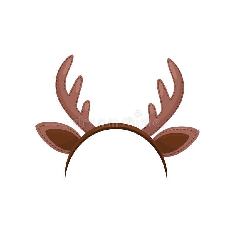 Hair hoop with cute brown ears and horns of deer. Funny head accessory. Reindeer headband. Flat vector icon stock illustration