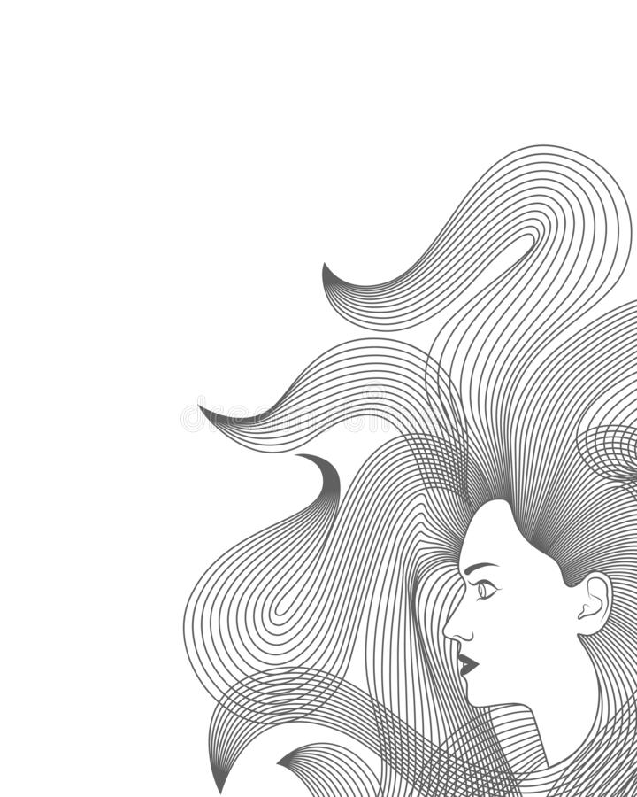 Woman with long hair. Background stock illustration
