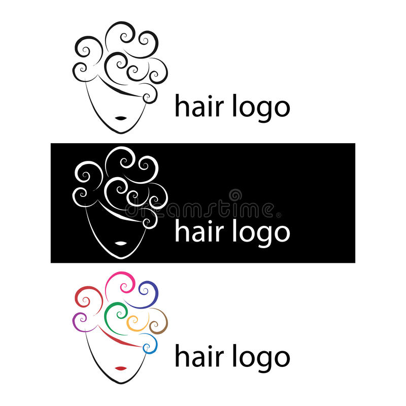 Hair logos. Three hair logos in different style:black and white, colors version.Useful for salon, beauty salon.EPS file available
