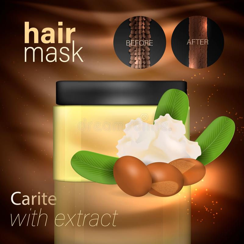 Hair mask with karite extract. Vector stock illustration