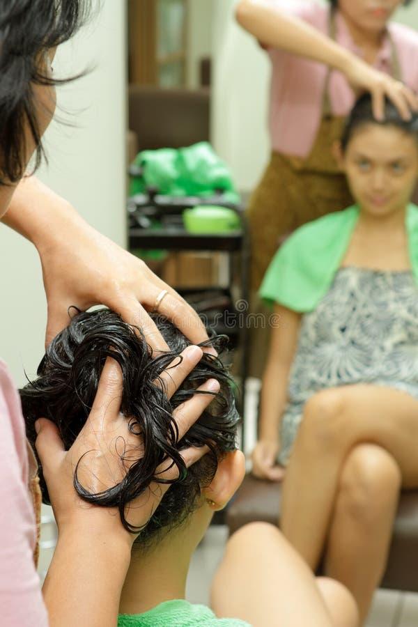 Hair massage stock photography