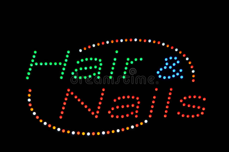 Download Hair and Nails Neon Sign stock image. Image of salon - 14363259