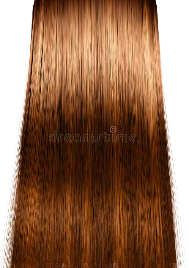 Hair Perfect Straight. A 3D render of a perfect symmetrical view of a bunch of shiny straight ginger hair with highlights on an white background stock illustration