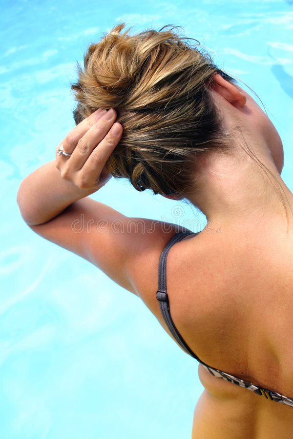 Hair by the Pool royalty free stock images